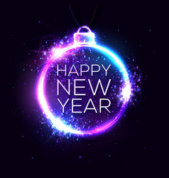 happy new year background neon light banner vector image