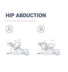 Hips abduction with resistance band female home vector