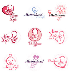 Human fetus hand-drawn emblems collection vector