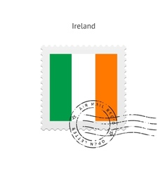 Ireland flag postage stamp vector