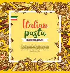 italian pasta poster with sketch frame of macaroni vector image