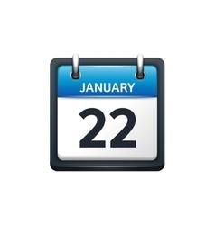 January 22 Calendar icon flat vector