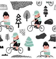 Kids on bicycle seamless pattern creative childish vector