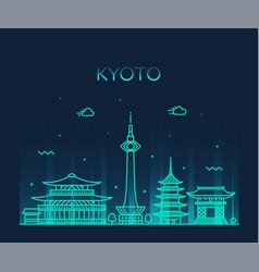 kyoto skyline japan linear style city vector image