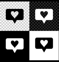like and heart icon isolated on black white and vector image