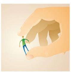 Man between fingers vector