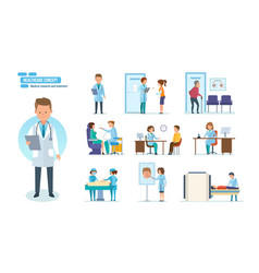Medical research treatment reception by doctors vector
