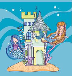 mermaids and undersea castle vector image