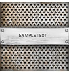 Metal background with plate for text vector