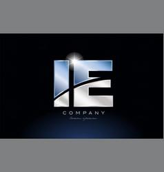 Metal blue alphabet letter ie i e logo company vector