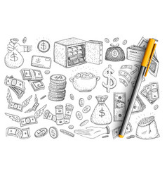 Money and finance doodle set vector