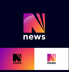 news logo n monogram rays network icon vector image