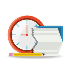 nice clock with calendar and pencil to know test vector image vector image