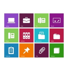 Office icons on color background vector