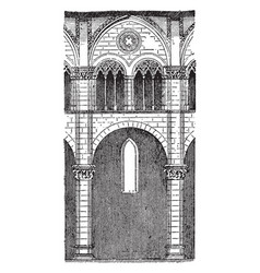 One bay nave of lucca cathedral vintage engraving vector