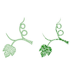 Polygonal wire frame mesh grape sprout and mosaic vector