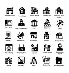 Real estate glyph icons 1 vector
