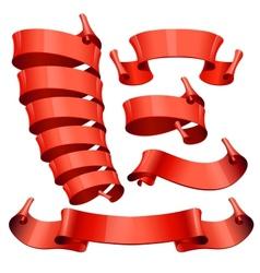 Red Glossy ribbons set vector