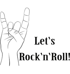 Rock n roll heavy metal sign of the horns line vector image