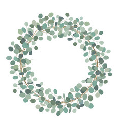 Round wreath with silver dollar eucalyptus vector