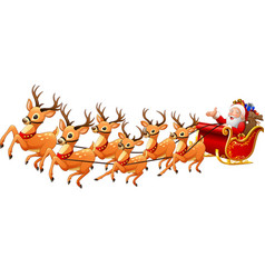 Santa claus rides reindeer sleigh on christmas vector