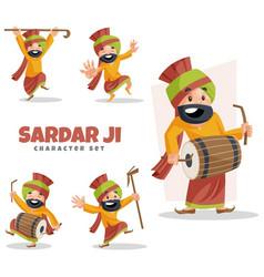 sardar ji character set vector image