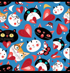 seamless bright pattern funny cats in love vector image