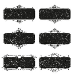 set decorative florish grunge frames vector image