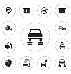 Set of 12 editable car icons includes symbols vector