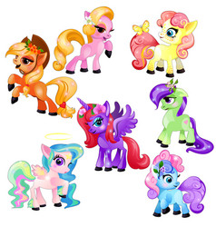 set of colorful little cute ponies and unicorn vector image