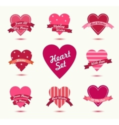 Set of hearts badges logos Retro love vector