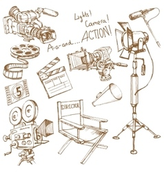 Set of movie make objects vector image