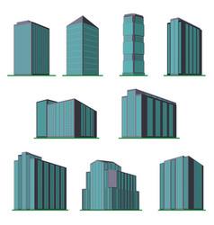 set of nine modern high rise building vector image