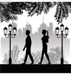 silhouette guy and girl walk park twon background vector image