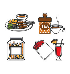 Singapore food and drink national cuisine vector