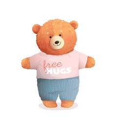 Soft teddy bear hugging wearing cool clothes vector