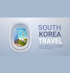 South korea landmarks landscape through airplane vector