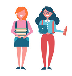 Students poster with female pupils holding books vector
