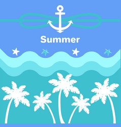 summer anchor and rope poster vector image