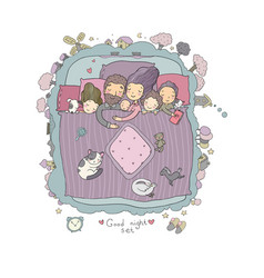 the family sleeps in bed cartoon mom dad and vector image