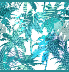 trendy seamless exotic pattern with palm tropical vector image