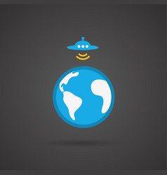 Ufo earth icon on black background vector