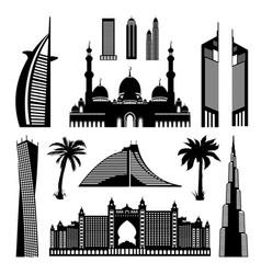 United arab emirates dubai architectural vector