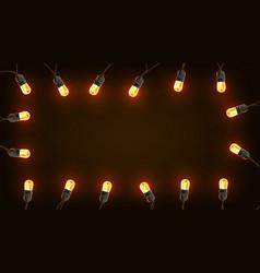 vintage christmas lights bulb decoration on dark vector image