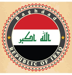 Vintage label cards of Iraq flag vector image