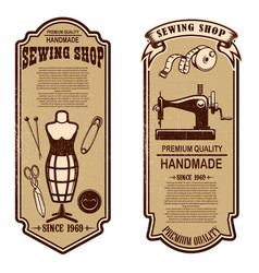 vintage tailor shop flyer templates sew tailor vector image