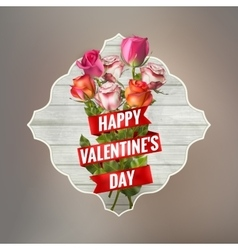 Vintage valentiine card with roses EPS 10 vector