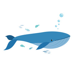 whale and fishes vector image
