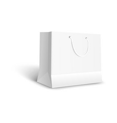 white paper bag for retail shop purchase blank vector image