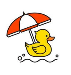 Yellow rubber duck icon with beach umbrella vector